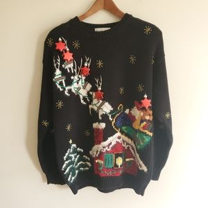 Vintage ugly Christmas sweater w tree decoration